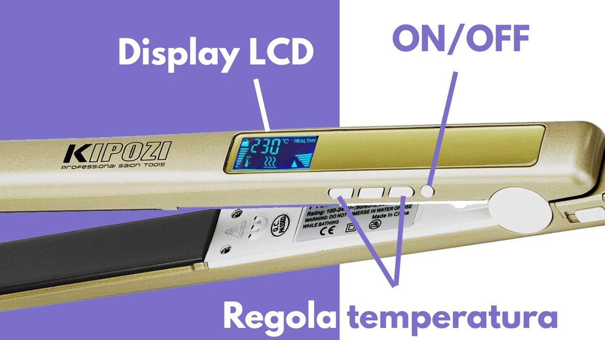 Particolare pulsanti display LCD piastra capelli KIPOZI pro