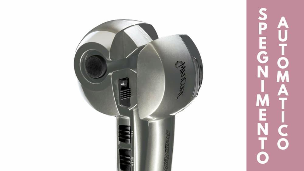 Particolare spegnimento automatico arricciacapelli vapore BaByliss Pro Mira Curl Steam